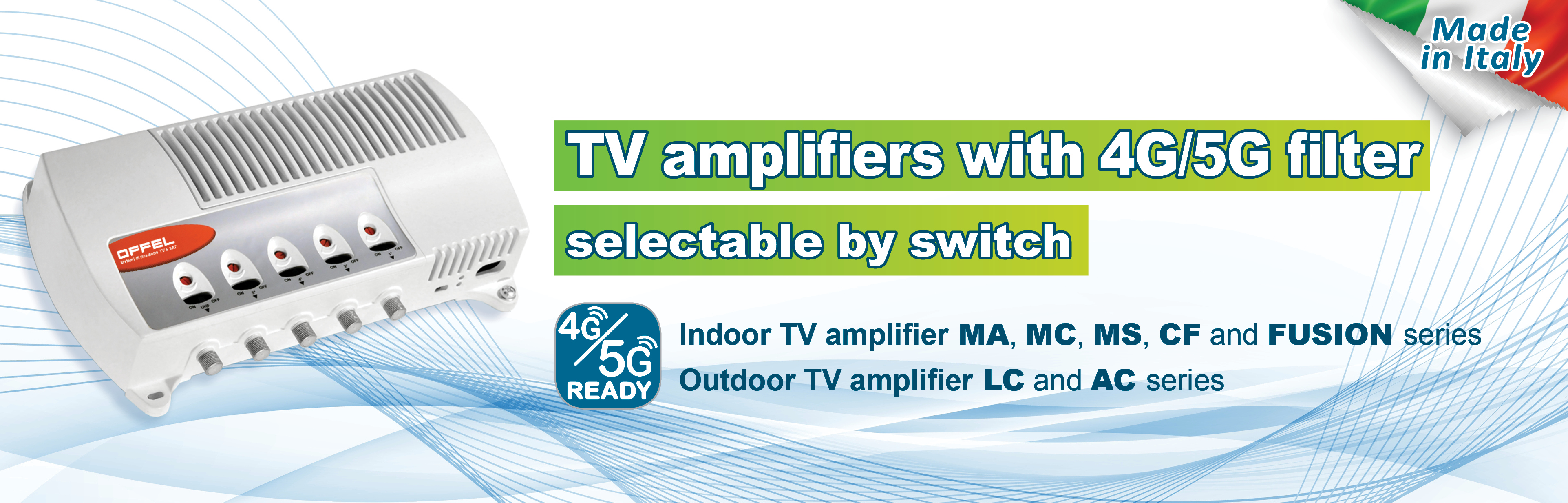 TV amplifiers with 4G/5G filter selectable by switch